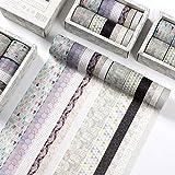 JWWDFSS 12 Rolls Washi Tape Set Geometric Pattern Decorative Washi Masking Tape for Scrapbooking, Planners, Card/Gift Wrapping, DIY Decor and Craft Supplies (jihetuan)