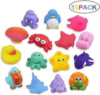 Lictin Juguetes de Baño para Bebé Niños - 15PCS Juguetes de Natación del Flotante, Seguro sin BPA, Animales Marinos Coloridos para Bebés Baño Piscina Playa