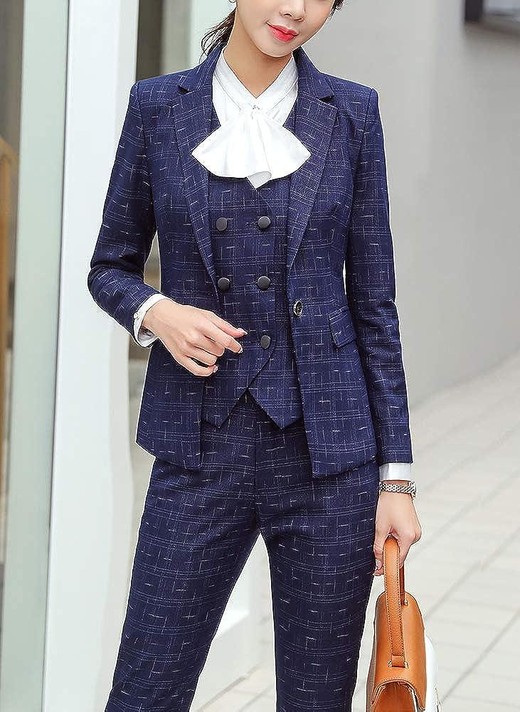 TUSFTAY Women Plaid Suit Coat Long Sleeve Lapel Button Slim Work Office Blazer Jacket Wine Red, XL
