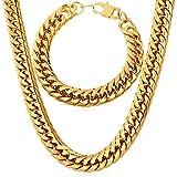 U7 Men 18K Gold Plated Franco Curb Chain 12mm Chunky Heavy Punk Style Jewelry Set Necklace & Bracelet (26'/8.3')