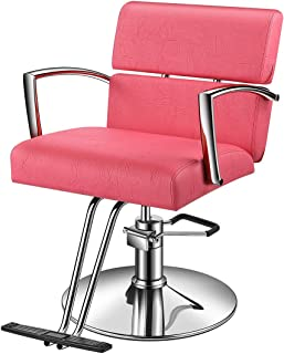 Baasha Beauty Pink Salon Hydraulic Styling Chair, Beauty Equipment Salon Chairs for Hair Stylist, Styling Chair for Salon Pink, Hair Stylist Chair, Hydraulic Chair
