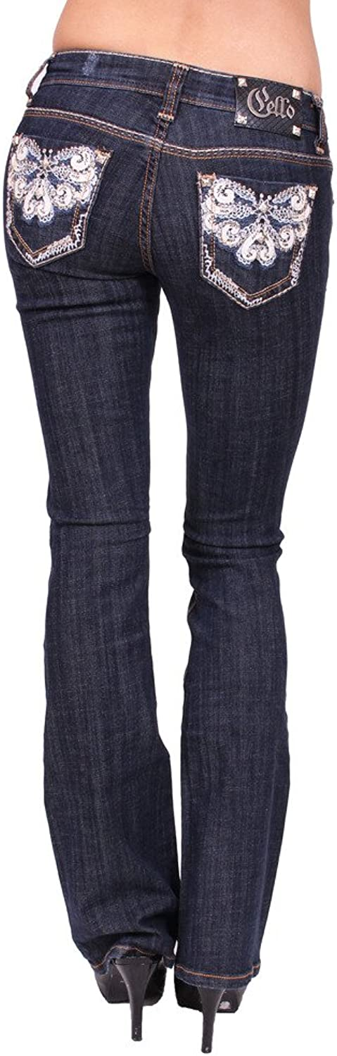 Cello Jeans Women Boot Cut Jeans with Floral Print and Rhinestones
