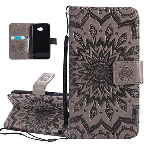 ISAKEN Compatibile con kg K5 Custodia[PU Pelle] [Shock-Absorption], Libro Flip Cover Portafoglio Case Tinta Unita Caso con Supporto di Stand/Carte Slot/Magnetica - Girasole: Grigio