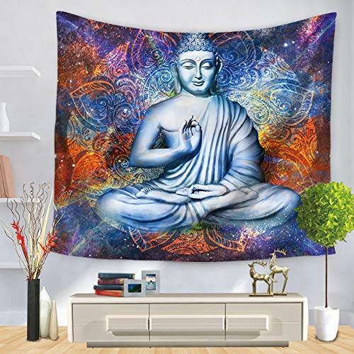 SKYROPNG Tapestries Wall Hanging,Bohemian Mandala Psychedelic Hippie Tapestry,Abstract Buddha Statue,3D Print Wallpaper Mural,for Bedroom Dorm Living Room Multifunction Decoration,100Cm X 150Cm