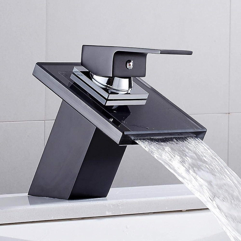 Massivglas Wasserfall Waschbecken Wasserhahn für Badezimmer Schwarz Deck Mount Platz Vanity Sink Mischbatterie Einhebel