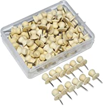 Wood Push Pins,JoyFamily Decorative Thumb Tacks Used on Cork Boards or Maps, Pack of 100PCS (Natural)