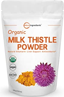 Maximum Strength Pure Organic Milk Thistle Extract Powder 3.5 Ounces Concentration Silymarin, Supports Liver Health and Antioxidant, No GMOs and Vegan Friendly