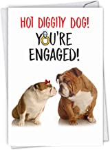 NobleWorks - Engaged Dogs - Funny Bulldog Engagement Greeting Card - Love, Pet Animal Card with Envelope C6897ENG