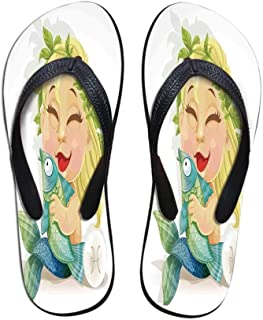 Astrology Durable Flip Flops,Aries Astrology Sign with Artsy Grunge Illustration Elements Character Venus Decorative for Leisure Activities,US Size 5