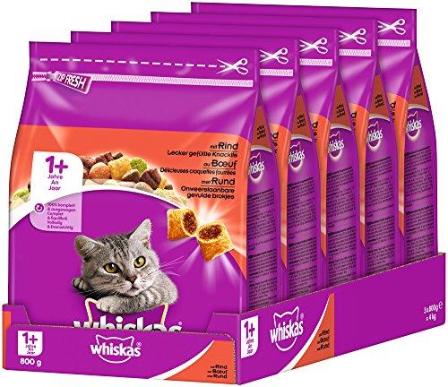 Whiskas cibo secco per gatti Adult 1+ con manzo, 5 sacchetti (5 x 800 g)