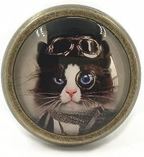 Steampunk Cat - Drawer Knobs Pulls Handles/Kitchen Cabinet Knobs Handle Pull/Antique Brass Dresser Drawer Knobs Furniture Hardware (Bronze)
