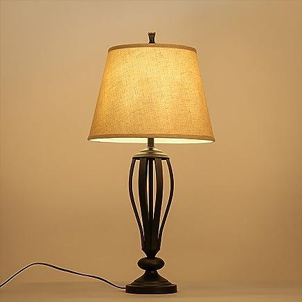 MILUCE 鉄のレトロテーブルランプ近代的なミニマリストホテルモデルベッドルームベッドルームベッド布の装飾 ( 色 : 黄色の光 )