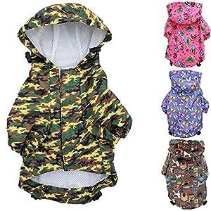 FunnyDogClothes for Small Pet Cat Dog Raincoat Hoodie Coat Waterproof Rain Jacket Rainwear