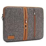 DOMISO 13 Inch Laptop Sleeve Canvas Notebook with Zipper Tablet Pouch Cover 3 Layer Protection Bag 3 Pockets Case for 13' MacBook Pro Retina (2015) / 13' MacBook Air, Brown