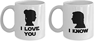 Star Wars Couple Coffee Mug - I Love You - I Know - Princess Leia Han Solo Jedi Movie Lightsaber Space Startrooper Trooper Gig Perfect Christmas Gift