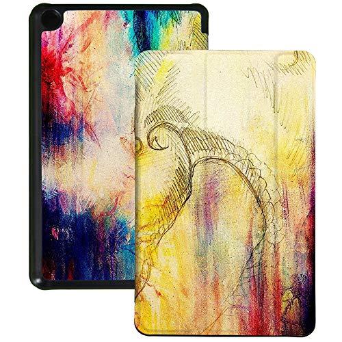 Colorful Star Hülle kompatibel für Fire 7 Tablet (9.Generation - 2019) - Dreifach-Standabdeckung aus Kunstleder für Kindle Fire 7 Tablet mit Auto Wake/Sleep Funktion - Bleistiftzeichnung Drache