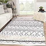 Tufted Cotton Area Rug 4' x 6', KIMODE Woven Fringe Throw Rugs Farmhouse Modern Geometric Collection Rugs Machine Washable Indoor Floor Runner Rug for Porch Kitchen Bedroom Living Room