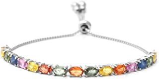 Magic Bolo Bracelet 925 Sterling Silver Platinum Plated Blue & Yellow Sapphire Jewelry for Women Adjustable 9.50