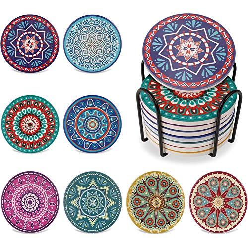 Veraing 8 Stück Untersetzer Gläser Keramik mit Halter, Absorbierenden Mandala Keramik Untersetzer mit Korkbasis für Glas Tassen Vasen Kerzen Einzigartige Geburtstags Housewarming Geschenke