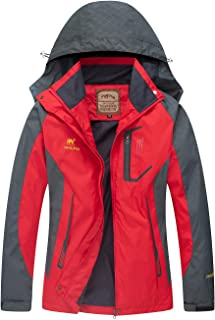 Women Windproof Hooded Ski Waterproof Rain Jacket Lightweight for Hiking
