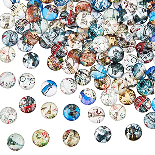 PandaHall 200 Stück Bedrucktes Glas Halbr& Kuppel Glascabochons Gemischte Farbe Größe 10x4mm