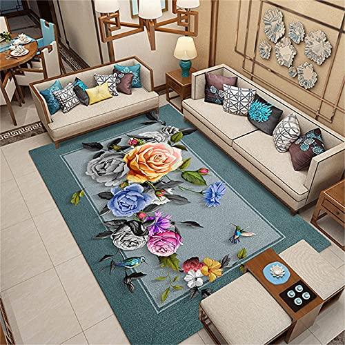 Alfombra De Estilo Chino, Sala De Estar Y Dormitorio, Tapetes con Estampado De Plantas, Balcón De Cocina 120x160cm