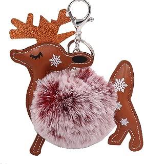 Christmas Snowflake Plush Keyring Flamingo Keychain Pendant Faux Rabbit Fur Keychain for Car Key Ring Handbag Tote Bag Purse