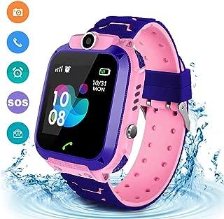 Kids Waterproof Smart Watch Phone, LBS/GPS Tracker Touchscreen Smartwatch Games SOS Alarm Clock Camera Smart Watch Christmas Birthday Gifts for 3-12 Boy Girls (Pink)