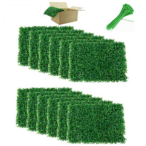 Nisorpa 12 Pack Boxwood Hedge Panels Artificial Plants Mat Privacy Fence Screen Faux Greenery Wall Backdrop Suitable for Outdoor Indoor Garden Patio Backyard UV Protection 31 Square Feet