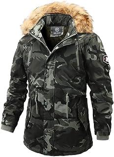 Mens Lightweight Camouflage Bomber Jacket Casual Hooded Faux Fur Windbreaker Caot Trucker Jacket