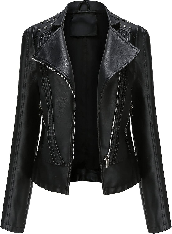 A2A Women's Leather Jackets, Faux Motorcycle Plus Size Moto Biker Coat Short Lightweight Vegan Pleather Fashion Coats