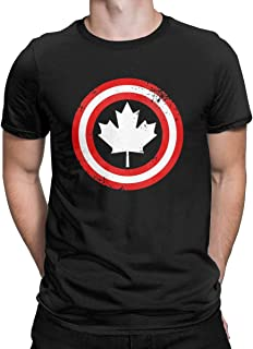 Captain Canada White Maple Leaf Cool Graphic T-Shirt Superhero Canadian Tees Tops for Men