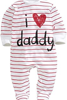 douleway Neugeborenes Baby aus Reiner Baumwolle Langarm Strampler I Love Mommy Daddy Print Footed Overall