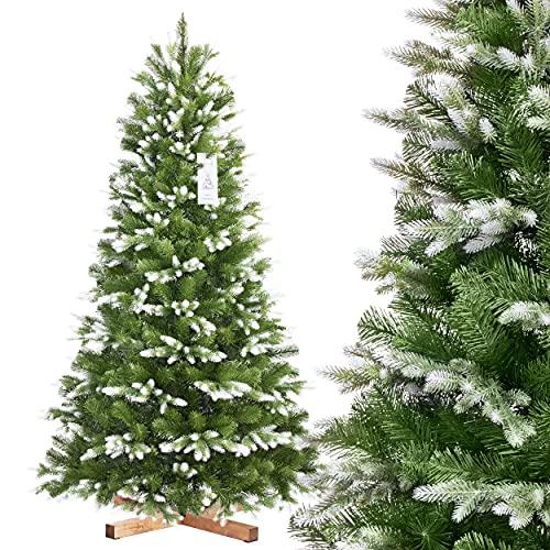 FairyTrees Árbol de Navidad Artificial Abeto Noble Nordmann de Blanco...