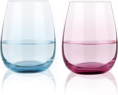 Multicolored Stemless Wine Glasses 15 Oz Set of 2, Vibrant Wine Glasses for Men Women Friends Families, Ideal for Family Gathering, Wedding, Anniversary, Party, BBQ (Red Blue)
