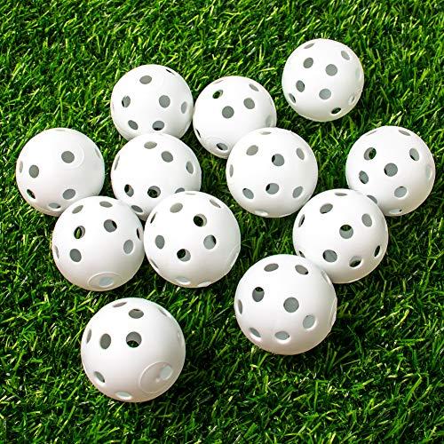 THIODOON Golf Übungsball Air Flow hohle Praxis Golfbälle 40 mm Kunststoff Golfbälle für Schwungübungen Fahren Range Home Outdoor Golf Spiele für Erwachsene Kinder 12 Pack (weiß, 12 Stück)