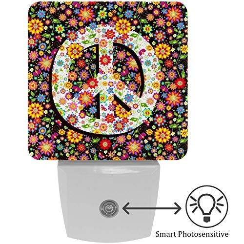 Lorvies LED-Nachtlicht mit Hippie-Blumendruck und floralem Friedenssymbol, mit automatischem Sensor, für Schlafzimmer, Badezimmer, Küche, Flur, Treppen, Flur, Babyzimmer, energiesparend (UK-Stecker)