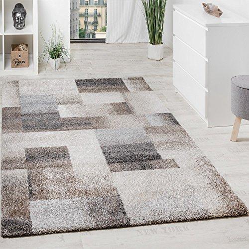 Paco Home Teppich Meliert Modern Webteppich Hochwertig Kariert Beige Creme Grau, Grösse:80x150 cm