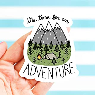 Cute Vinyl Sticker, It's Time for an Adventure, Camping Decal, Gift for Him, Mountains, for Cooler