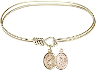 DiamondJewelryNY Eye Hook Bangle Bracelet with a Scapular Charm.