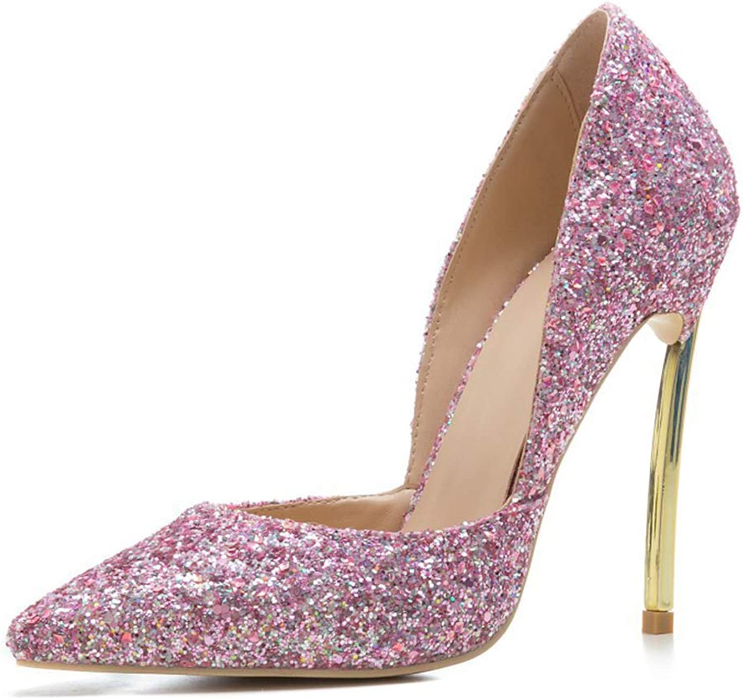 Pointed High Heel shoes Fashion Dress Pumps Bridal Wedding Party Glitter Pump