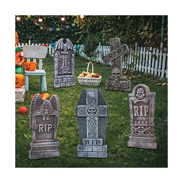 JOYIN 43 cm 5 Decorazioni di Halloween RIP in Pietre Tombali Cimitero in Schiuma e 12 Puntali in Metallo Bonus per Decorazioni in Cortile 3 spesavip