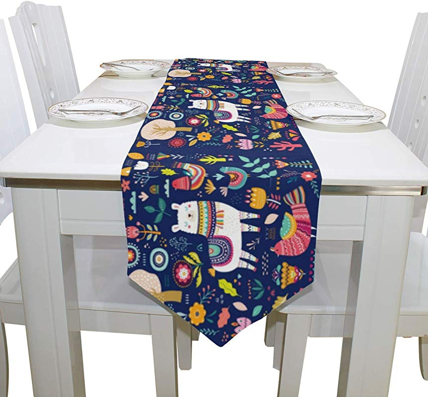 WIHVE Table Runners 13 X 70 Inch Colorful Llama Cactus Flowers Birds Ethnic Design Rectangle Polyester Double Sided Long Tablerunner Cover For Kitchen Dining Wedding Party Holiday Home Decor