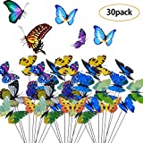 <span class='highlight'><span class='highlight'>BETOY</span></span> 30 Pieces Garden Butterflies poles Colorful stakes butterfly simulation plastic fake butterfly Bookmark sticks Ornaments for Yard Patio Party Plant Decoration