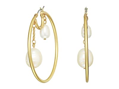 SOLE / SOCIETY 50 mm Hoop with Double Pearls Earrings (12K Soft Polish Gold/Ivory Fresh Water Pearl) Earring