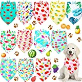 12 Pieces Dog Pet Summer Bandanas Washable Fruit Dog Bandanas Triangle Dog Bibs Scarf Assortment Pet Kerchief Dog Scarf Accessories for Small Medium Size Pets (Fruit and Leaf Patterns,L)