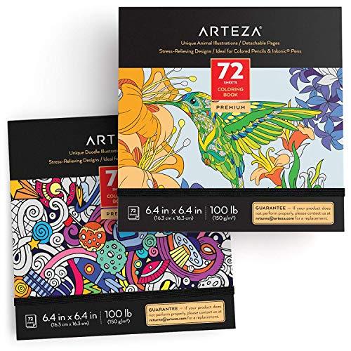 Arteza Libros de colorear para adultos con garabatos y dibujos de animales,...