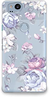 CasesByLorraine Google Pixel 2 Case, Purple Floral Flower Clear Transparent Case [for Women] Flexible TPU Soft Gel Protective Phone Cover for Google Pixel 2 (2017) (I33)