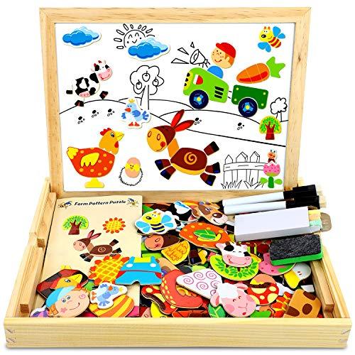 COOLJOY Puzzle Magnetico Legno, Giocattolo di Legno Bambini Regalo con Lavagna Double Face, Apprendimento Educativo Puzzle Magnetica Lavagna Legno 100 Pezzi può Attaccare sul Frigorifero
