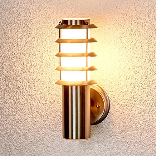 Lindby Wandleuchte außen \'Selina\' (spritzwassergeschützt) (Modern) in Alu aus Edelstahl (1 flammig, E27, A++) - Außenwandleuchten, Wandlampe, Außenlampe, Wandlampe für Outdoor & Garten